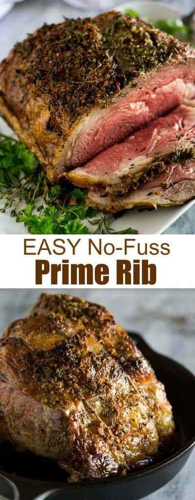 A slow roasted Prime Rib recipe with step by step instructions and tips for how to slow roast a boneless or bone-in prime rib.  #primerib #slowroastedprimerib #easy #recipe
