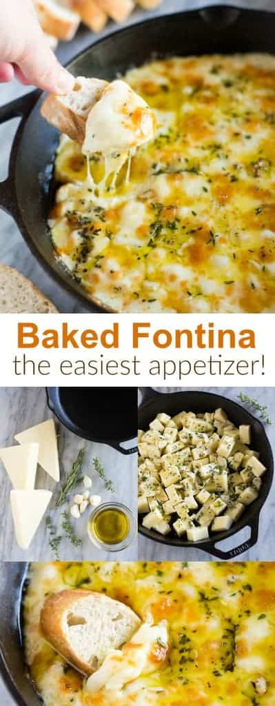 Baked Fontina cheese dip inspired by Ina Garten, the Barefoot Contessa. An easy holiday appetizer made with Italian fontina cheese, olive oil, and fresh spices served with crusty french bread.  #fontina #easyappetizer #cheesefondue #tastesbetterfromscratch.com #easy #cheesedip