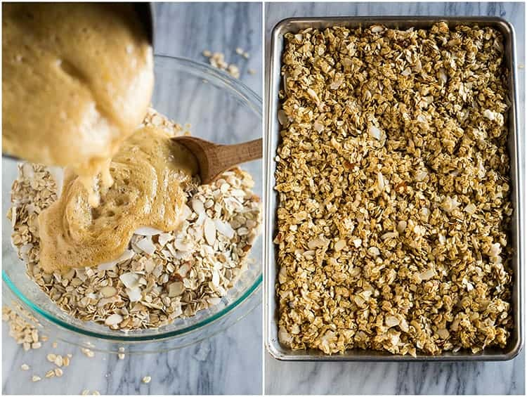 Process photos for making granola including a photo of hot syrup being poured over the dry ingredients and an overhead photo of a sheet pan with the homemade granola mixture in it, ready to bake.
