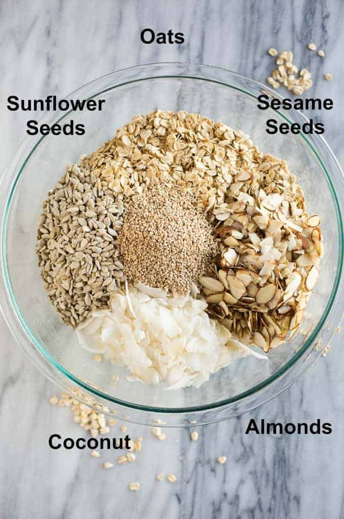 Overhead photo of a glass bowl with the ingredients to make granola and text on the photo naming each ingredient including oats, sunflower seeds, almonds, sesame seeds and coconut.