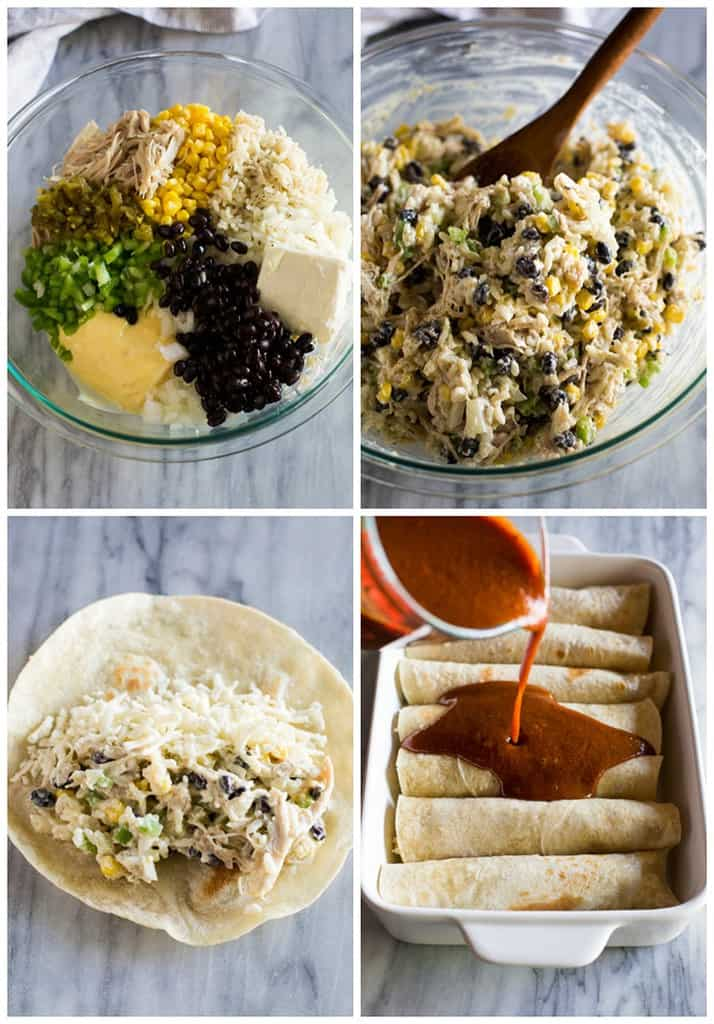 Four process photos for making chicken enchiladas including a bowl with the ingredients, mixed together, spooned onto a flour tortilla, and a pan of enchiladas with sauce being poured on top.