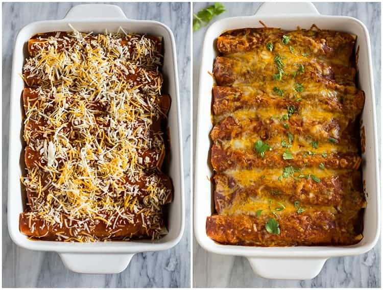 Side by side photos of a ready to bake, and then baked pan of chicken enchiladas with red enchilada sauce.