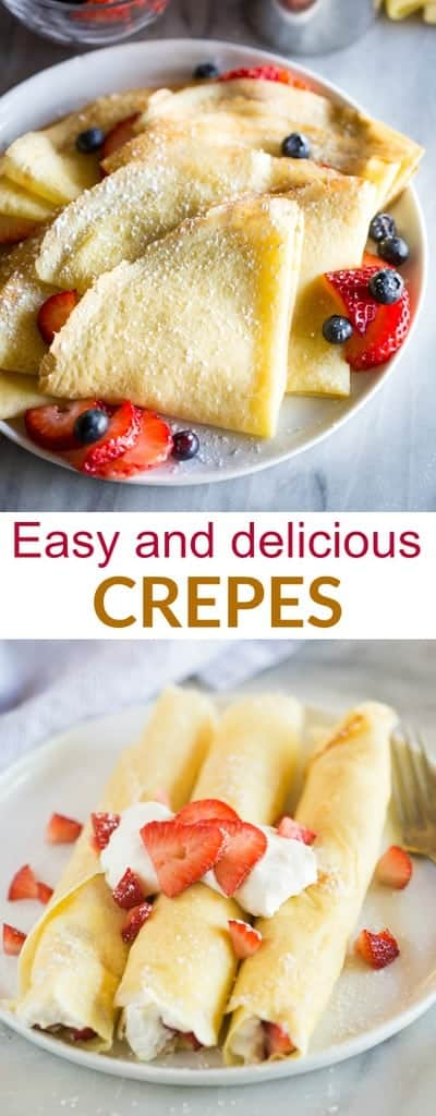 A step-by-step guide for How to Make Crepes in a skillet or frying pan.  This easy crepes recipe includes filling options for sweet, savory, and breakfast crepes. #crepes #easy #recipe #filling #howtomake #tastesbetterfromscratch #dessert #breakfast #valentinesday