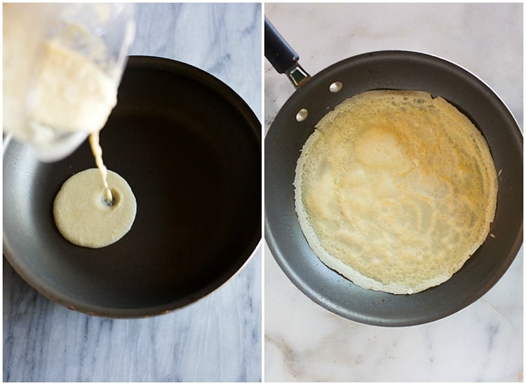 Crepe batter being poured into a skillet next to another photo of a crepe cooking in the skillet.