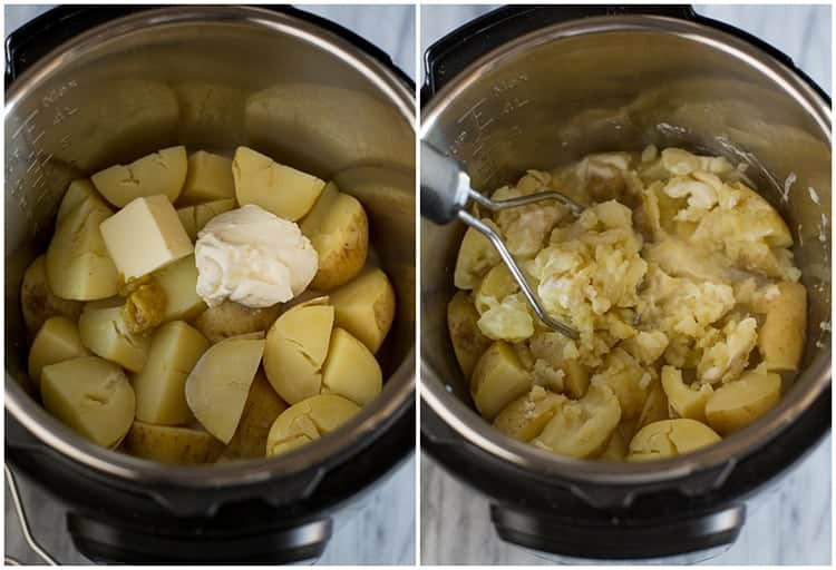 Side by side process photos of mashed potatoes made in the instant pot with the cooked and quartered potatoes with butter and sour cream on top in one photo, and the potatoes being mashed in the next photo.