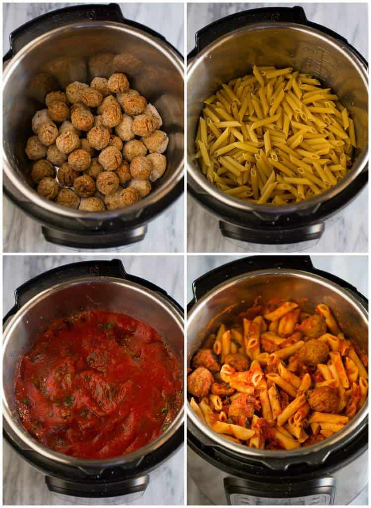Four process photos for cooking penne pasta in the instant pot including frozen meatballs at the bottom of the pot, uncooked penne pasta on top, tomato sauce and spices covering the noodles and a final photo of the cooked penne pasta and meatballs meal in the instant pot.