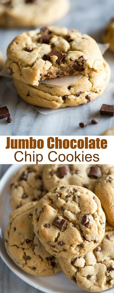These Jumbo Chocolate Chip Cookies are made from scratch, extra thick and chewy chocolate chip cookies. They have a slight crisp on the outside and are soft in the center, with plenty of chocolate morsels throughout. #cookies #chocolatechipcookies #jumbocookies #chewy #recipe #easy #bakert #best