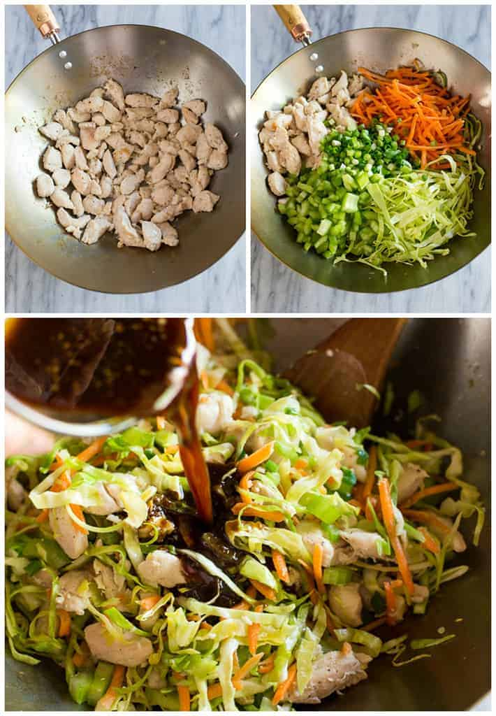 Three process photos for making chow mein including sautéing the chicken in a wok, adding the vegetables, and pouring in the sauce.