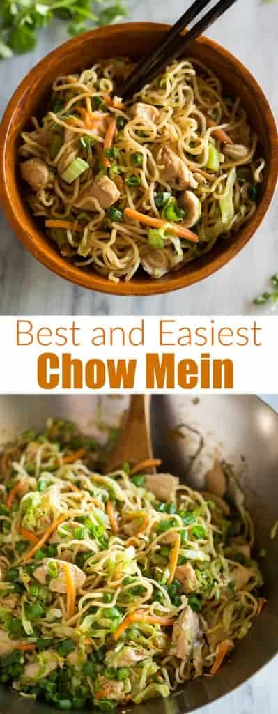 This easy Chinese Chow Mein recipe is made with noodles, vegetables, chicken, and classic chow mein sauce! It's better than Panda Express, and healthy too!  #chowmein #easy #recipe #chicken #tastesbetterfromscratch #dinner #chinese