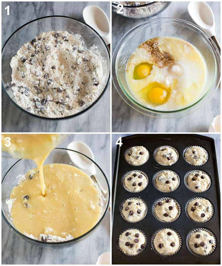 Process photos for how to make chocolate chip muffins including mixing the dry ingredients, wet ingredients, and the batter inside a muffin tin ready to be baked.