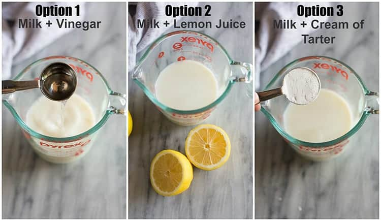 Three photos for making a buttermilk substitution with milk and vinegar, milk and lemon juice, and milk and cream of tarter.