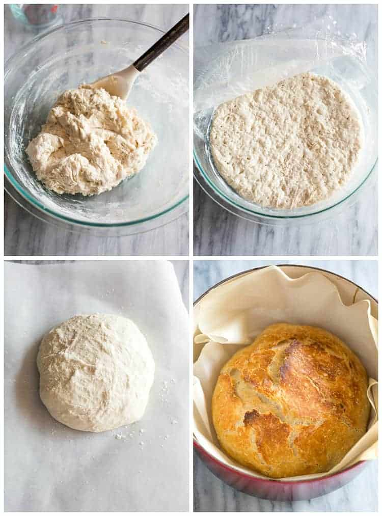 Four process photos for making no knead bread including mixing the dough, rising in a bowl and baking in a cast iron pan.