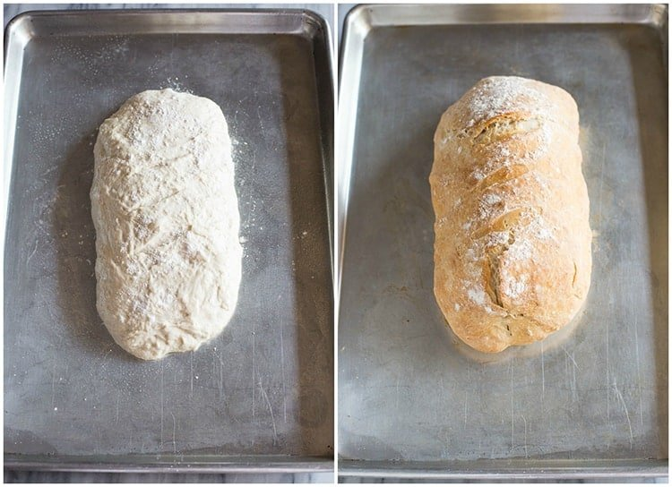 Side by side photos of a loaf of bread on a baking sheet before and after it's baked.