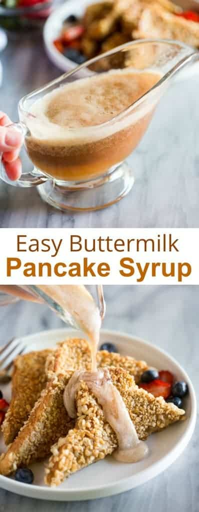 Homemade Pancake Syrup made with buttermilk and brown sugar is an easy recipe that takes just 10 minutes to make. After you know how to make syrup, you'll never buy it again. #breakfast #syruprecipe #buttermilksyrup #pancakesyrup #easy #recipe #brownsugarsyrup #tastesbetterfromscratch