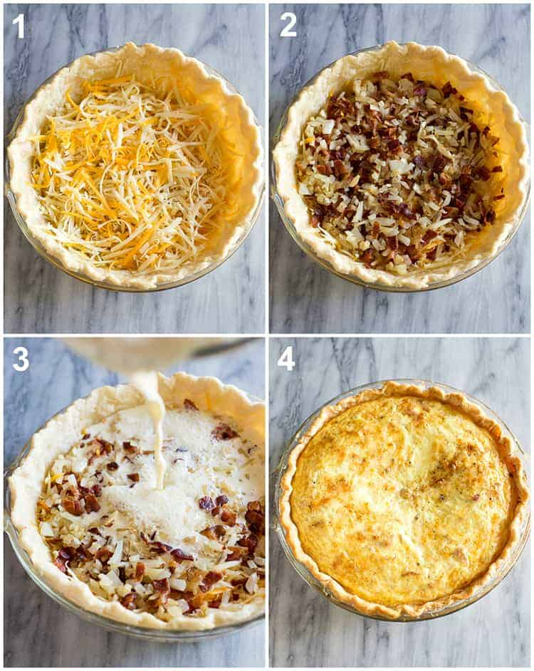 Four process photos for making quiche lorraine including shredded cheese in a pie dish then topped with bacon and onion, egg mixture poured in, and the final baked quiche.