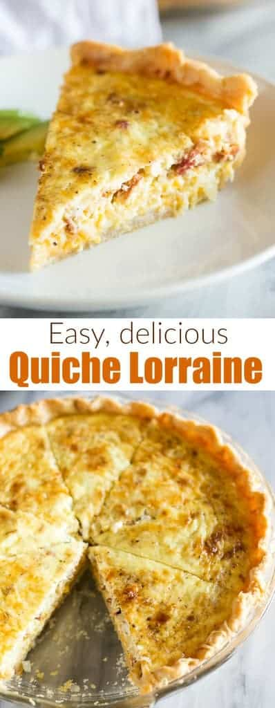 An easy Quiche Lorraine recipe made with cheddar, swiss, parmesan cheese, and bacon served in a flaky pie crust. Inspired by Julia Child's Quiche Lorraine. #quichelorraine #easy #recipe #quiche #juliachild
