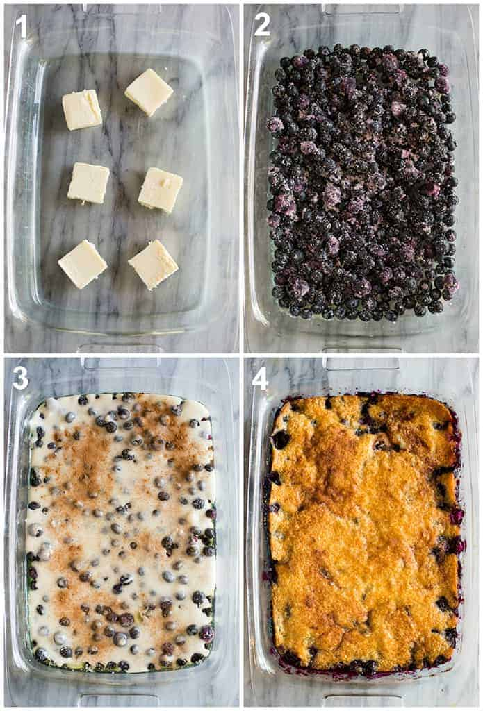 Four overhead process photos for making blueberry cobbler including butter in the pan, blueberry filling, batter on top, and the baked blueberry cobbler.