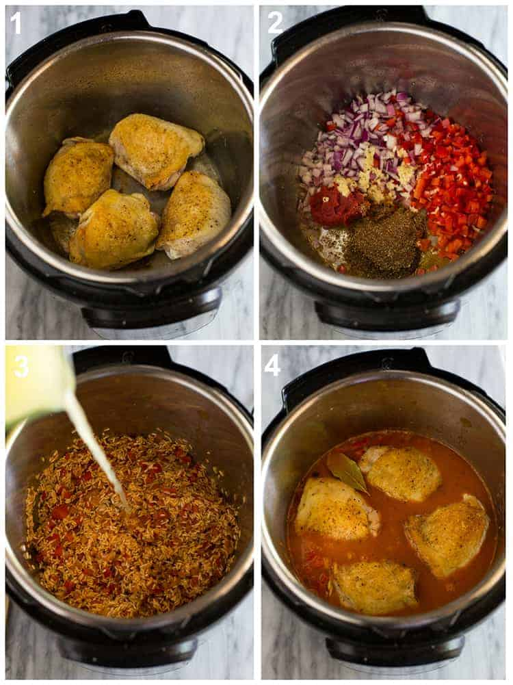 Four overhead process photos of an instant pot with browned chicken thighs, spices, veggies rice and chicken broth added to the pot to make instant pot chicken and rice.