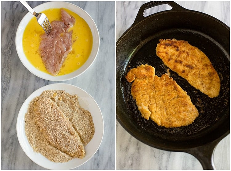 Side by side photos of chicken dipped in egg and breadcrumbs, and then the breaded chicken frying in a cast iron skillet.