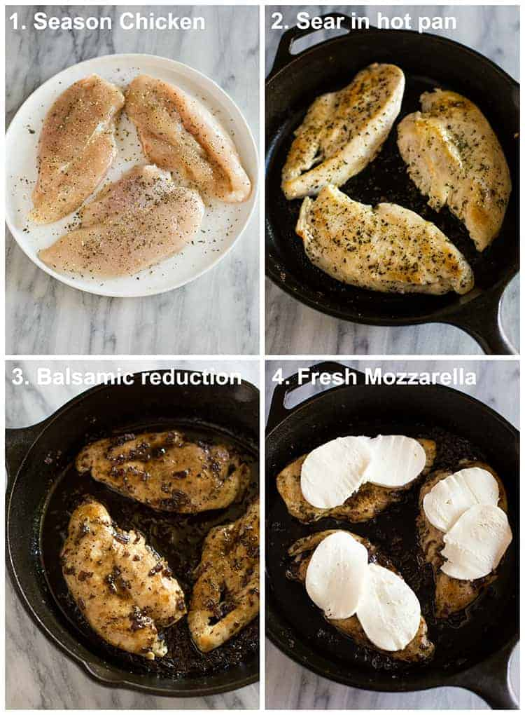 Four process photos for making caprese chicken, including seasoned chicken breasts, browned in a cast iron pan, topped with balsamic reduction and mozzarella cheese.