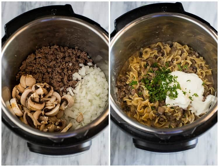 Overhead photos of an instant pot with ground beef, mushrooms and onions, and then the rest of the ingredients added to make instant pot stroganoff, including egg noodles, sour cream and parsley.
