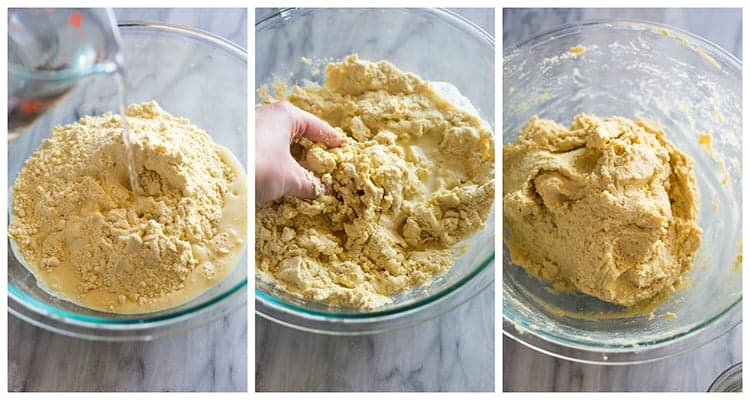 The process for making the dough for papusas, mixing it with your hands to form a soft dough.