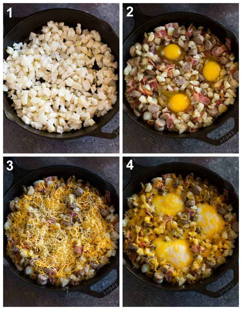 Four overhead photos of a cast iron skillet with frozen diced hasbrowns, sausage bacon and eggs cracked on top, shredded cheese added on top and the final baked breakfast skillet.