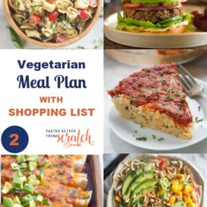 a vegetarian meal plan with 5 different meal options