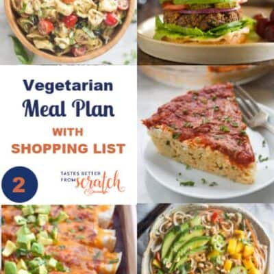 Week #2 Vegetarian Meal Plan and Shopping List
