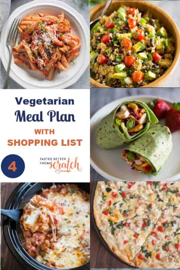 A collage showing five dinner meals for a weekly vegetarian meal plan.