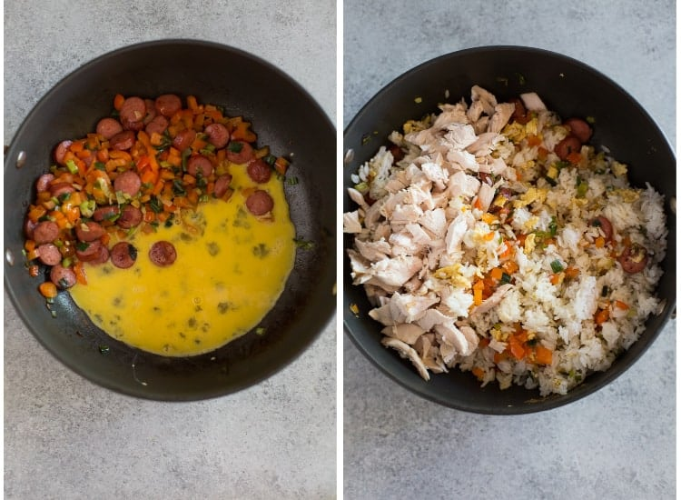 Side-by-side photos of a skillet with chopped veggies, hot dog and beaten eggs, next to the same skillet with rice and chicken added to the pan.