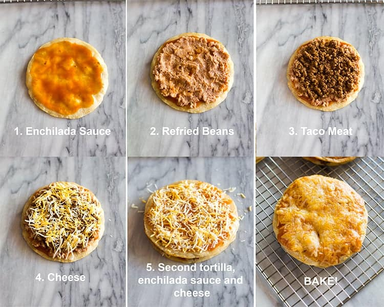 Six process photos of layering topping on corn tortillas including enchilada sauce, refried beans, taco meat, cheese, and baking it to make a Mexican pizza.