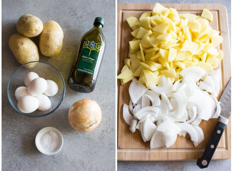 The ingredients for tortilla de patata (potatoes, eggs, olive oil, onion, salt) next to another photo of the potato and onion thinly sliced on a cutting board.
