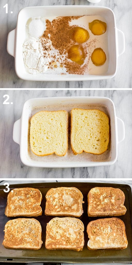 Process photos for making brioche french toast including the batter ingredients in a white dish, brioche bread dipped in the batter, and then french toast cooking on a skillet.