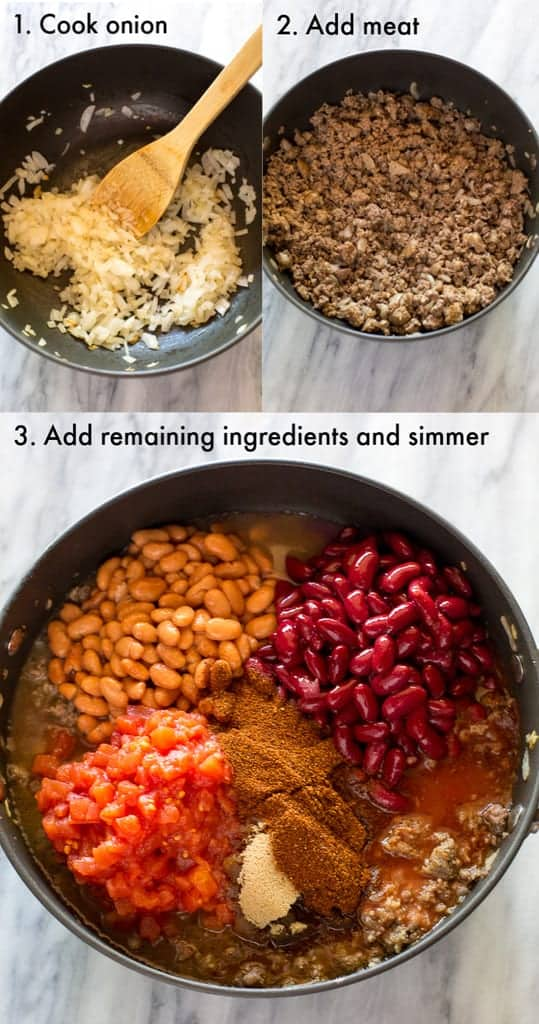 Three process photos for making chili, and text on the photos, including onion sauteeing in a skillet, ground beef added, and the rest of the chili ingredients, beans and canned tomatoes added.