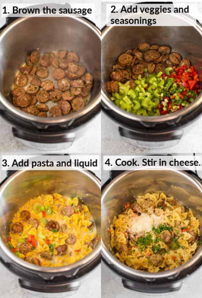 Four process photos with text instructions on the photos for cooking cajun pasta in the instant pot including sausage browning in the pot, veggies added, dry farfalle pasta and broth added, and the dish after cooking, with parmesan cheese and parsley sprinkled on top.