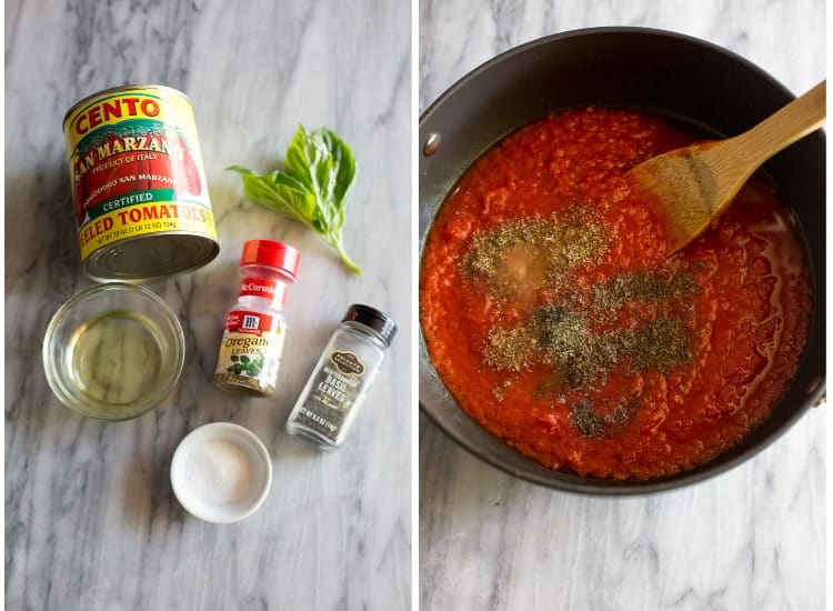 The ingredients for marinara sauce including a can of whole tomatoes, basil leaves, oregano, salt, olive oil and oregano, next to the ingredients in a saucepan.