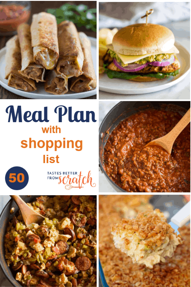A collage image of a weekly meal plan with 5 dinner recipes; week 50