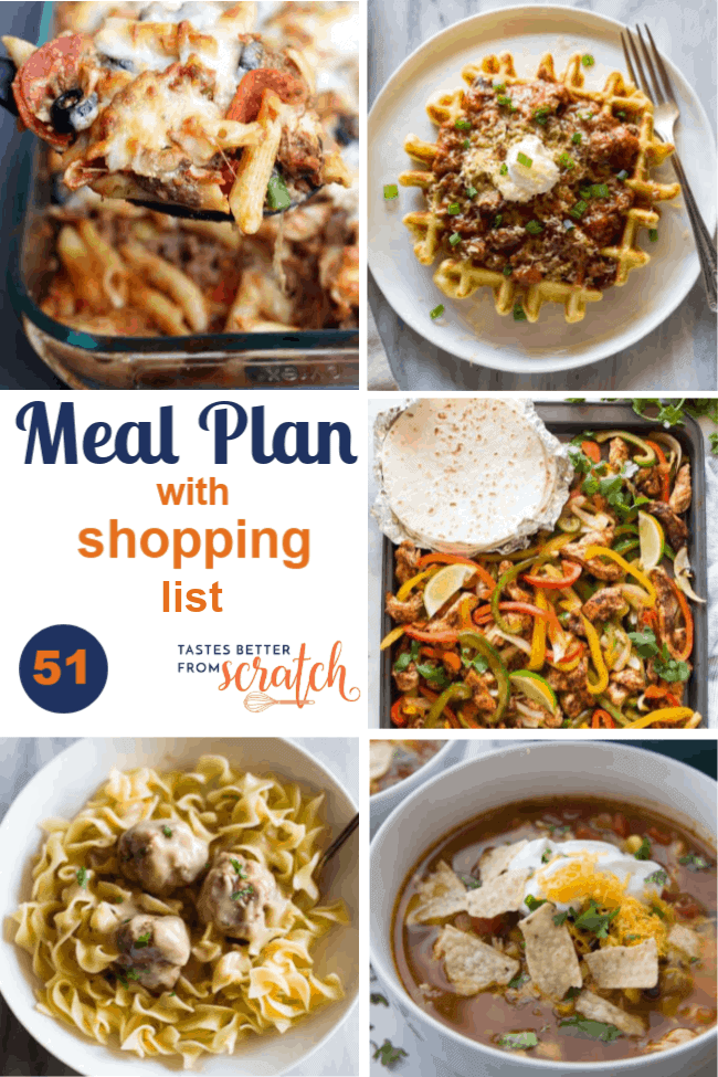 A collage of five dinner meals for the printable weekly meal plan.