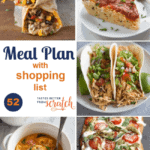 A collage image of a weekly meal plan with 5 dinner recipes