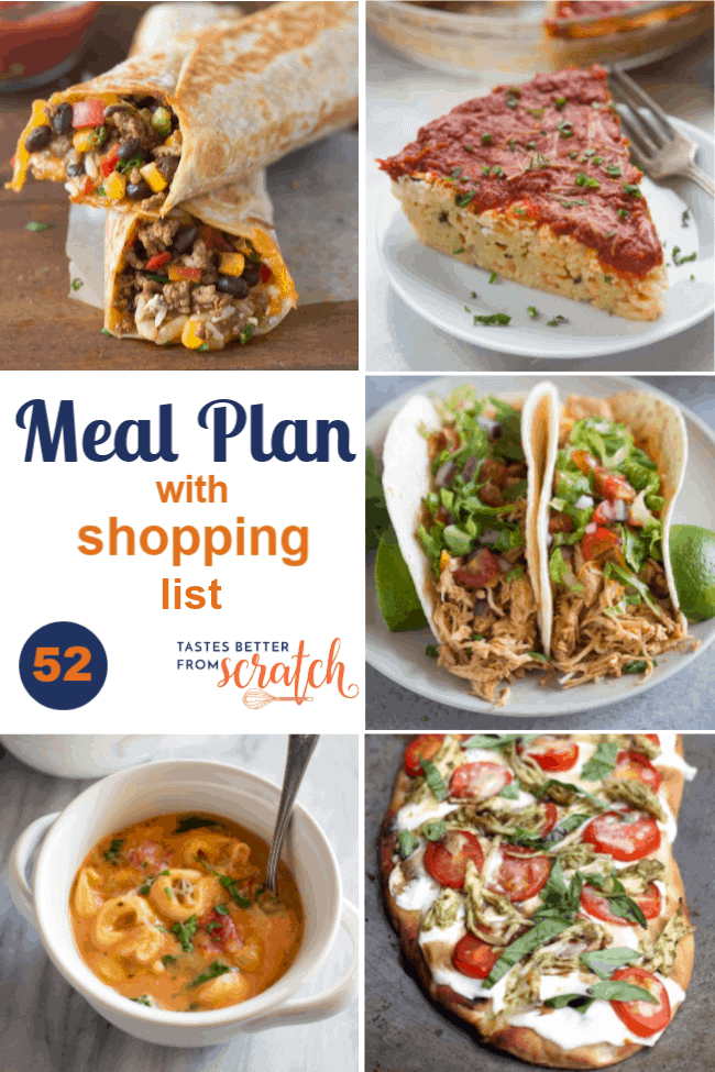 A collage image of a weekly meal plan with 5 dinner recipes; week 52