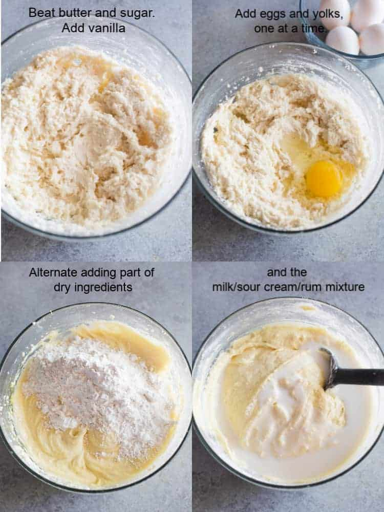 For process photos for making rum cake in a clear glass mixing bowl by creaming butter and sugar, adding eggs, dry ingredients, then wet ingredients.