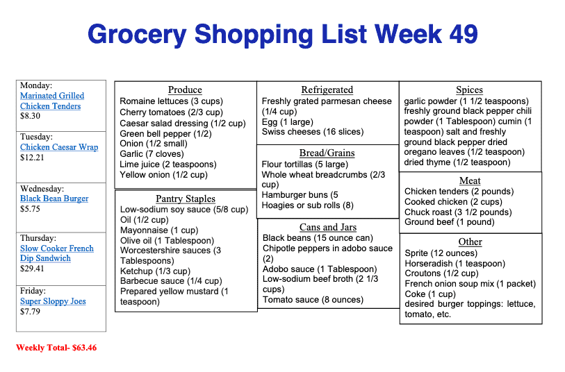 Printable Shoping list for meal plan 49 with items in catergories