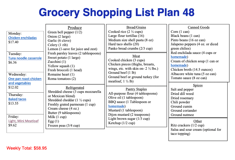 Printable shopping list for meal plan 48 with items in catergories