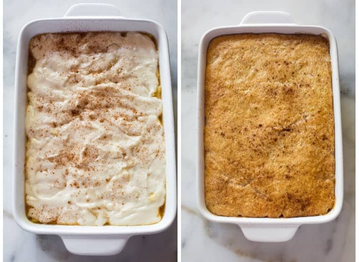 Side-by-side photos of a pan of apple cobbler with batter on top before it has been baked and after baked.