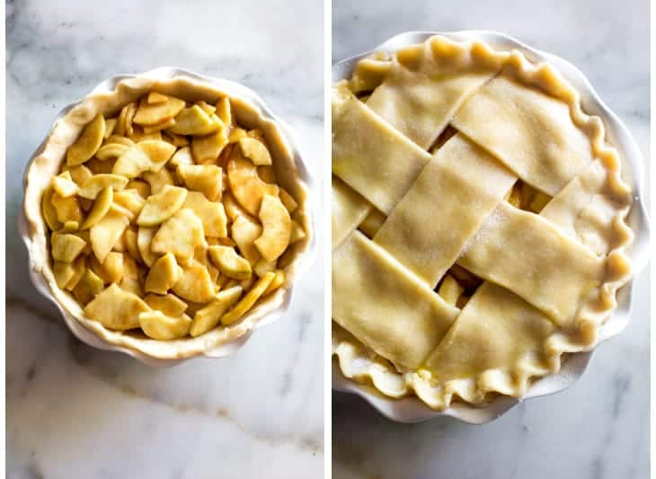A pie plate with unbaked crust and apple pie filling in it, next to another photo of the lattice top pie dough added.