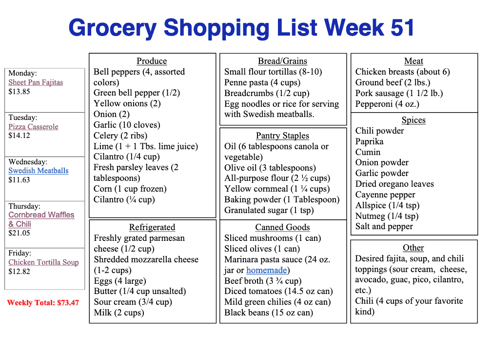 Printable shopping list for meal plan 51 with catergories