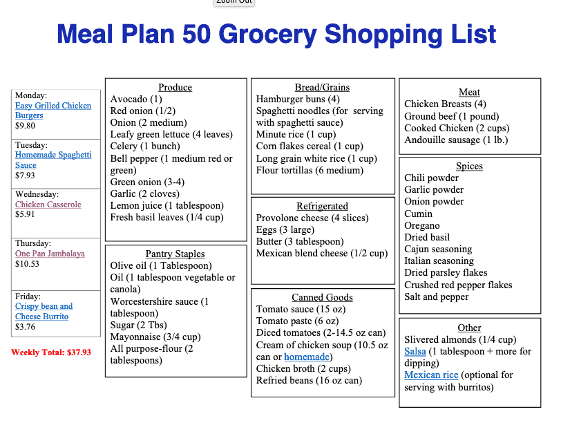 Shopping list for meal plan 50 with items in catergories