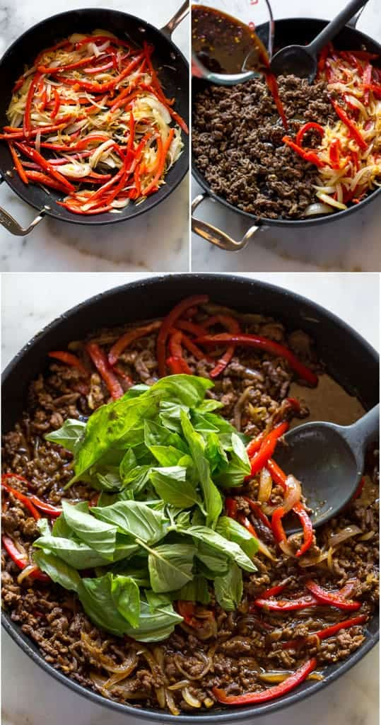 Three process photos for making Thai Basil Beef including sautéing onion and bell pepper, cooked ground beef and sauce added to the pan, fresh basil added on top.