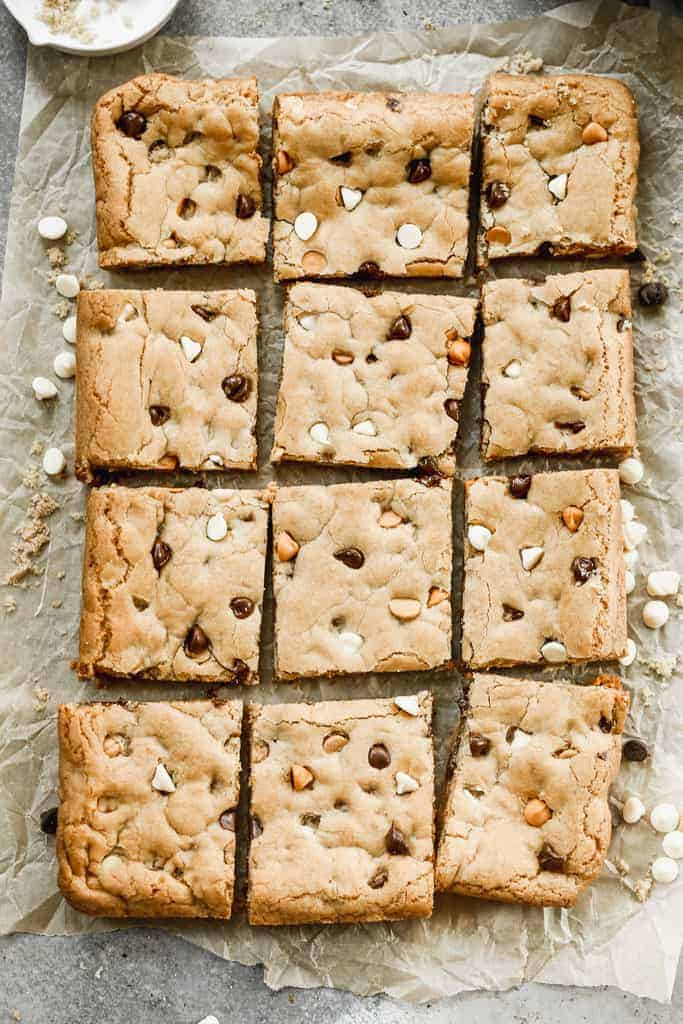 Baked blondies cut into squares.